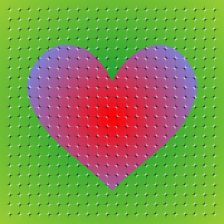 Corazón flotante. Ilusión óptica de Kitaoka